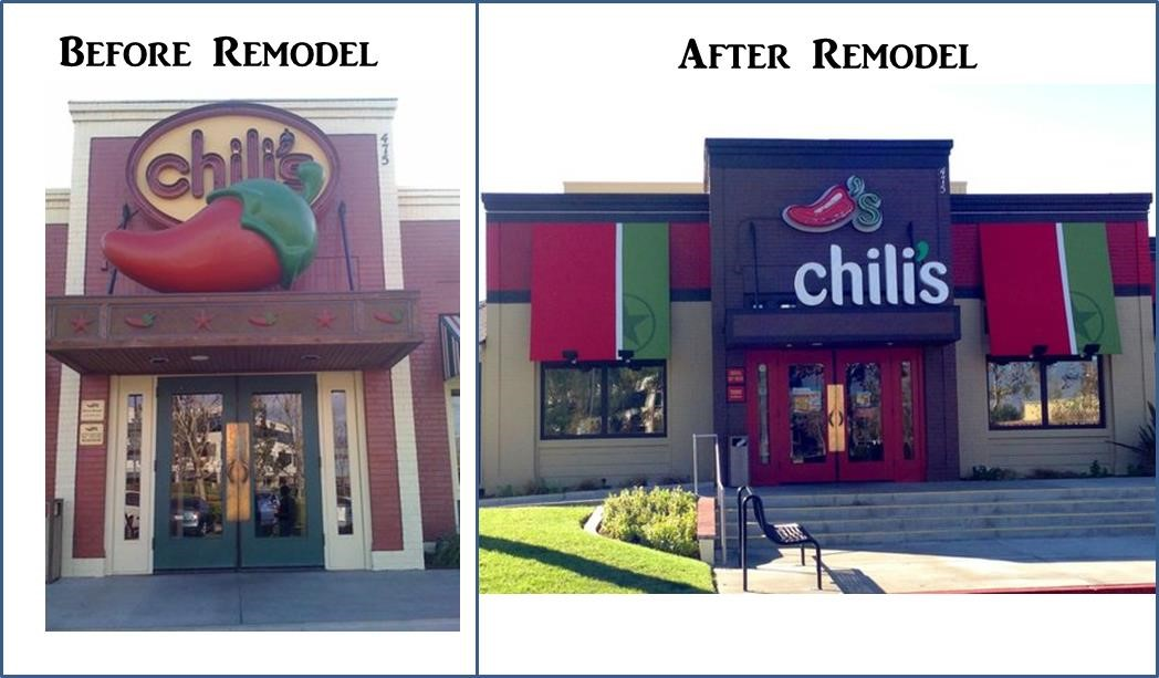 Before and after picture's of Chili's store remodelling initiative.