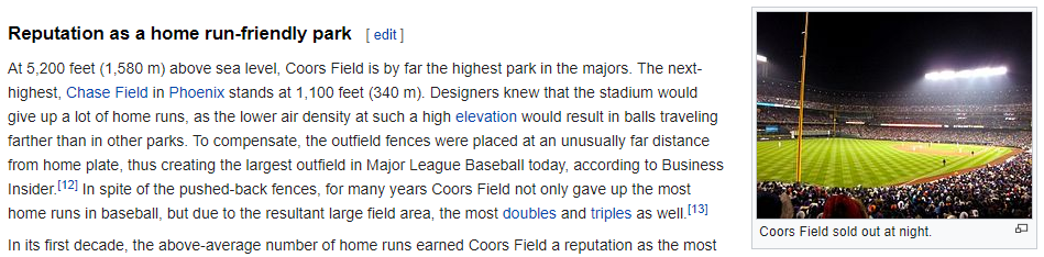 Coors Field baseball stadium has a reputation as a park that is friendly to batters. http://en.wikipedia.org/wiki/Coors_Field